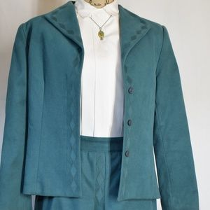 Vintage Nyman's Green Suede Skirt Suit